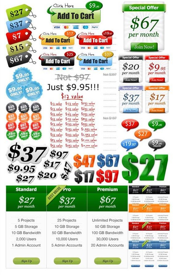graphics pack - add to cart price tags