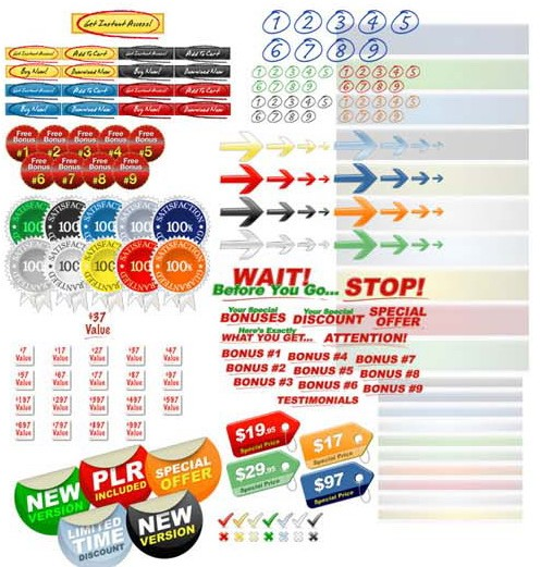 graphics pack buttons arrows price tag special offers